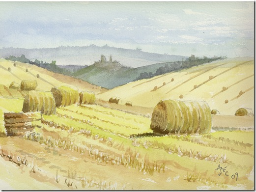 Straw Bales Near Corfe Castle by Alec Wills