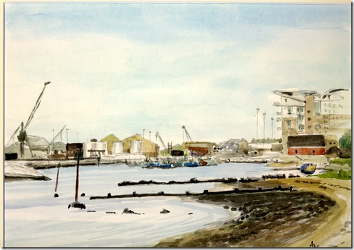 Alec J. Wills - Watercolour; Low tide at Baiter, Poole