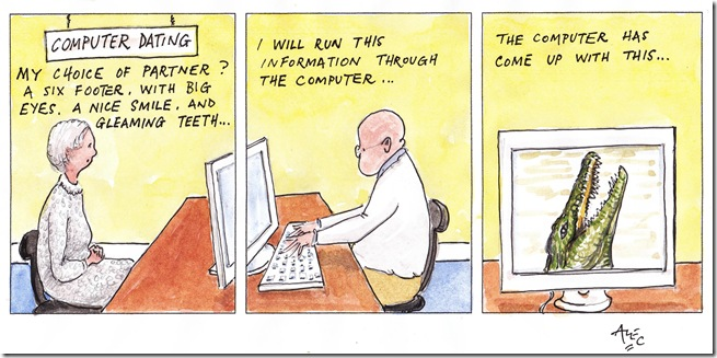 Computer Dating cartoon by Alec Wills, Poole