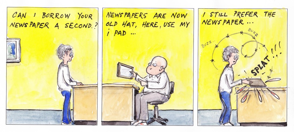 Newspapers are old hat, Cartoon by Alec Wills